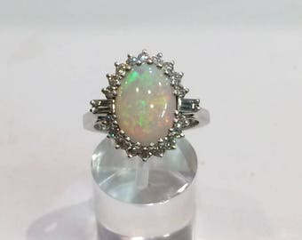 18CT white gold opal and diamond ring