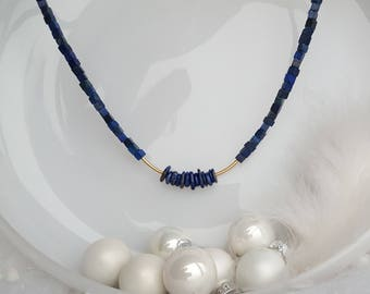 Lapis Lazuli,Goldfilled, lobster clasp,Gemstone,Gift for her,cubes,Love,Valentine,Blue,Gold,Necklace