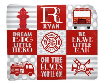 FIRETRUCK Baby Blanket, Firetruck Nursery Bedding, Firetruck Blanket, Boy Name Blanket, Boy Shower Gift, Swaddle Blanket Pillow Set