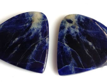 Sodolite Heart Pair Cabochon Size-25x25 MM Natural Sodolite AAA,Quality,Loose Gemstone, Smooth Cabochons.