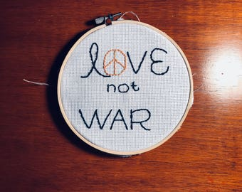 love not war embroidery