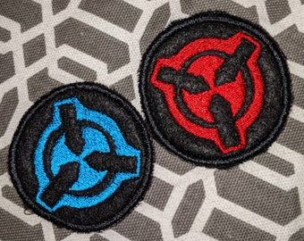 SCP Foundation Patch - mini (shown in black / turquoise blue  and black / red)