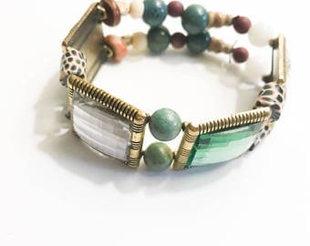 Karma Chameleon Beaded Stretch Cuff Bracelet