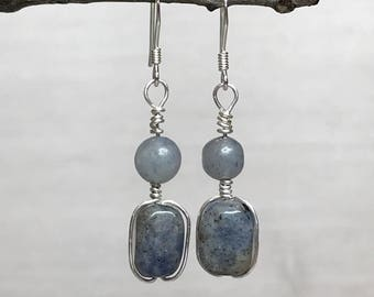 Sodalite Chakra Earrings, wire wrapped healing gemstone earrings, chakra earrings, throat chakra, sodalite healing jewelry, blue aventurine