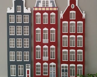 Amsterdam Canal Houses, hand-painted home decor, handcrafted gift, unique design, gifts for her, gifts for him, one of a kind