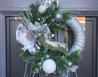 Winter Shimmer Wreath / Christmas Wreath / Xmas wreath /Holiday Wreath / Green Wreath /Forever Wreath /Luxury Wreath