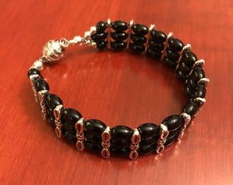 Black and Silver Beaded 3 Strand Bracelet