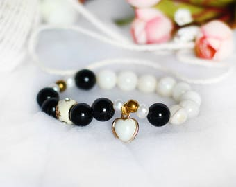 Black and White Bracelet for Women Black Onyx 10 mm Gemstones Beauty Handmade Gift for Her