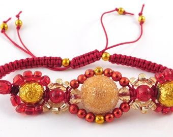 Ruby and gold macrame adjustable bracelet