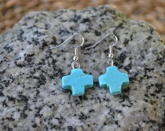 Turquoise Howlite Cross Earrings | Women's