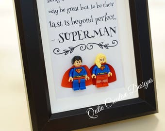 Superman, Lego, Superhero, gift, daddy, gift for him, lego minifigures, for valentine, father's day, anniversary, birthday inspired by LEGO
