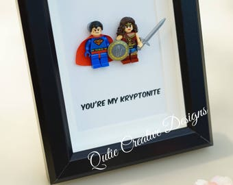 Lego, Superhero, gift, daddy, gift for him, lego minifigures, superhero lego, Father's Day gift, superman, wonder women, inspired by LEGO