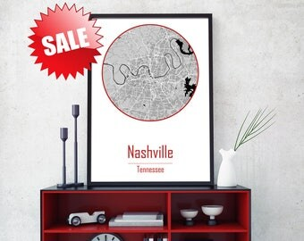 NASHVILLE City, Nashville map art, Canvas Map Art, City canvas wall art, Nashville Poster, Giclée, Tennessee Print, Tennessee Poster, Map