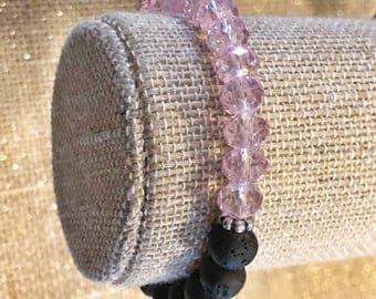 Purple Glass - Lava Beaded Bracelet - Essential Oils