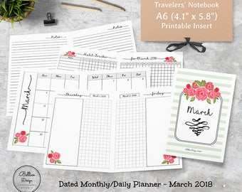 A6 TN Inserts, 2018 Planner Printable, Daily Monthly Planner 2018, Planners 2018 Printable, A6 Printables, A6 Planner Insert, March 2018