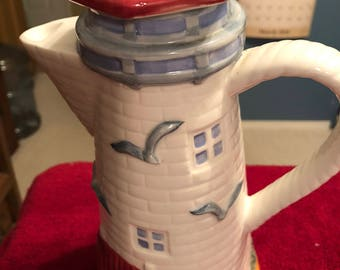 Hand Painted Lighthouse Teapot