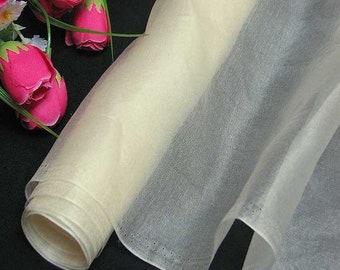 discount 3 yards Silk Organza Fabric Ivory Pure Natural Silk Material for Wedding Bridal Dress (za45 X 3 Yards )