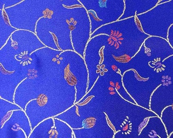 """36"""" wide Chinese brocade Zen Flowers on shiny Royal Blue satin fabric faux silk material embroidered by the 0.5 YARDS, Yards Meters BR 04"""