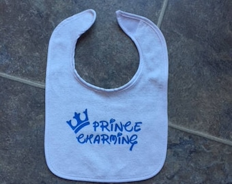 Prince Charming, Baby Bib, Baby Shower gift, Cute Bibs, Velcro Bib. Baby Cloths