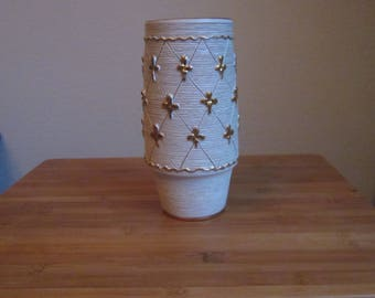 Fratelli FANCIULLACCI 1960 Italy Ceramic vase with details in gold color