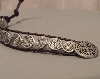 Leather and silver wrap bracelet