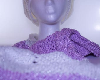 Knit Infinity Scarf Purple & White Silver Shimmery Long INFINITY SCARF