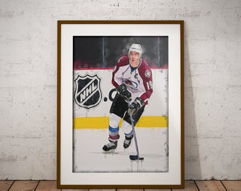 Joe Sakic - Colorado Avalanche - Super Joe Sakic - NHL Art - Stanley Cup - NHL - Avalanche - Sports art - Wall decor