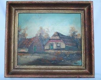 Vintage Original Painting By,  Farm Scene, Mid West, Farm and Barn House, Large Wood Frame, Matt