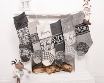 Knit homemade Personalized Christmas stockings, Family Christmas stocking, Rustic Knitted, handmade embroidery, Gray knit