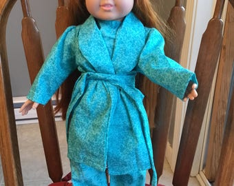 "Cotton pajamas with robe and slippers fit 18"" doll such as American girl."