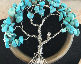 Turquoise Tree of Life Ornament