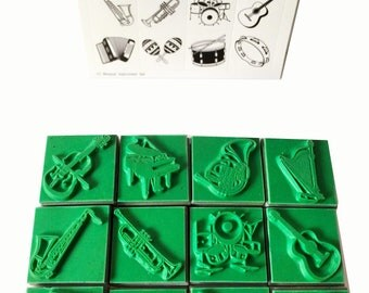 12 Musical Instrument Rubber Stamp