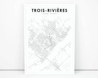 Quebec printable map etsy trois rivieres map print quebec qc canada map art poster city street road sciox Gallery