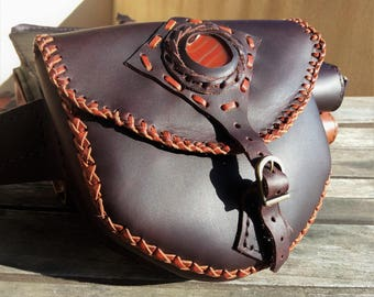 Leather Fanny pack with fire agate
