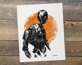 K2SO - Star Wars - Fan Art - K2SO Print - Gift for Him