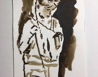 Original Watercolor Drawing of a Woman in the Boston Subway