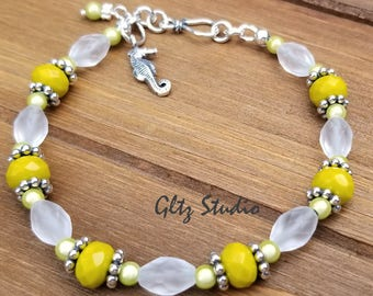 Lime Green Faceted Czech Glass & Sterling Silver Seahorse Bracelet