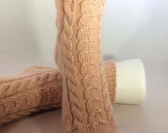 Hand Knit Socks,  Womens Socks, Slipper Socks, Pink Socks, Alpaca Blend Socks, Warm, Cozy, House Socks, Cable Socks