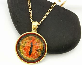 Dragon Eye Pendant/ Glow in the Dark/ Eye Necklace/ Gold Necklace/ Gifts For Women/ Fantasy Jewelry/ Hand Painted Jewelry/  Eye of Sauron