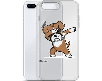 Funny Dabbing Boxer iPhone Case, Cute Boxer Gift, Boxer Dog Dab Dance Phone Case
