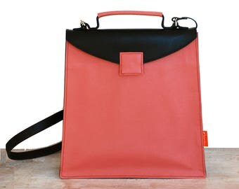 Shoulder bag, leather shoulderbag, shoulderbag, red, black red leatherbag, Designtas, working bag, handbag, luxury satchel, exclusive, design, leather