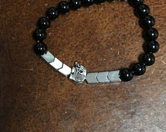 Obsidian,Hemitate with Elephant Charm stretch bracelet
