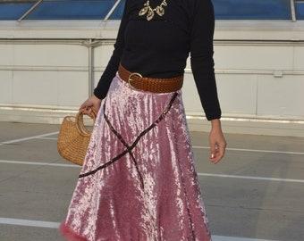 Velvet pink skirt,Chic skirt,Romance Skirt,