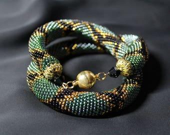 Necklace snake Beaded Crochet Necklace Animal print Jewelry python Necklace christmas gift