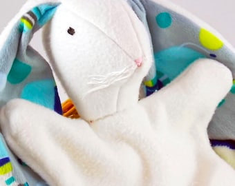 Blue, gray, yellow and turquoise fleece and minky lovey bunny