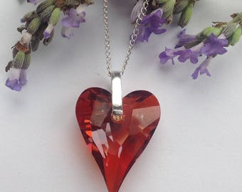 Showstopping Sterling silver necklace made with Swarovski Wild Heart pendant (Red Magma)