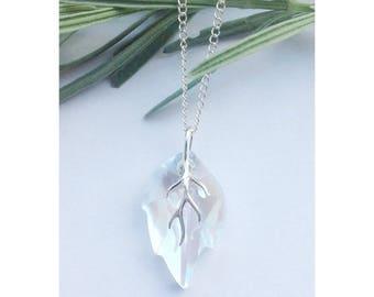 Sterling silver leaf necklace made using Swarovski Moonlight crystal, leaf jewelry, Swarovski jewelry, boho jewelry