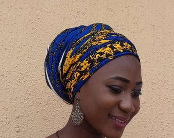 Blue & Yellow Headwrap; African Headwrap for women; African Turban; African Headwrap; African Scarf;African clothing ; Headtie