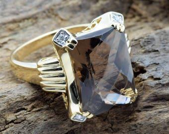 Spectacular Retro Vintage Smoky Topaz w/ Diamond Accents Ladies 14K Yellow Gold Ring **FREE SHIPPING**
