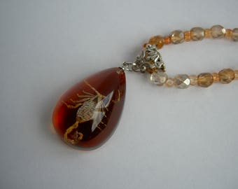 Vintage Czech Rep faceted glass bead necklace with real resin encased scorpion. OOAK